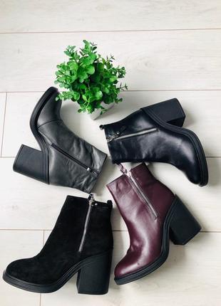 Lux обувь! кожаные зимние ботинки на меху женские на каблуке
