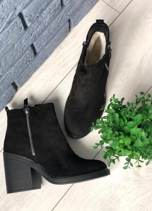 Lux обувь! кожаные зимние ботинки сапоги ботильоны наикаблуке