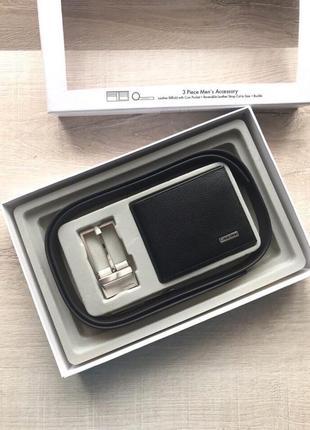 Мужской подарочный набор calvin klein кошелек и ремень отличны...
