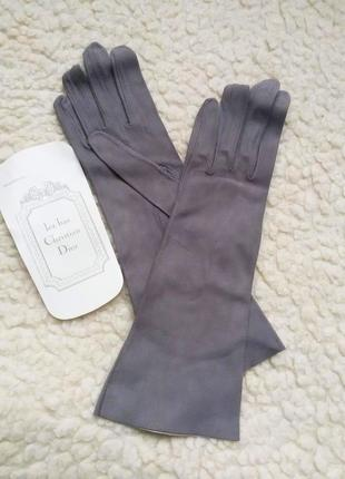 Тонкие замшевые перчатки christian dior кожа замш