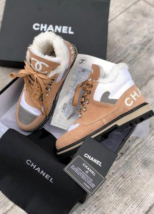 Нереальные женские зимние ботинки туфли сапоги chanel