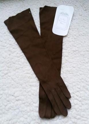 Длинные тонкие замшевые перчатки christian dior кожа замш