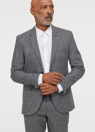 Пиджак h&m premium quality,  slim fit, смесовый лен !