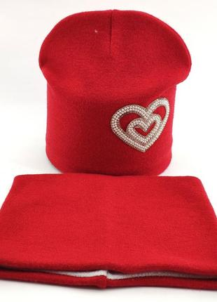 Детская шапка ангоровая теплая с хомутом