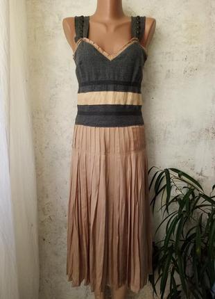 Дизайнерское платье, юбка плиссе, натуральный шёлк, шерсть, ca...