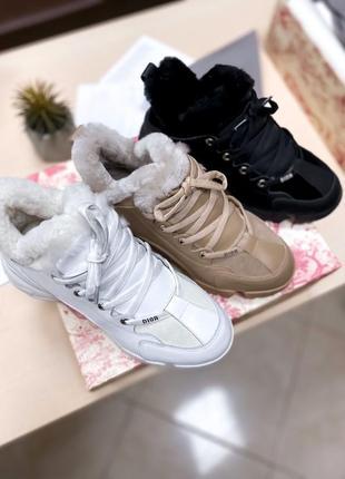 Lux качество❗️шикарные зимние ботинки кроссовки на меху dior❤️