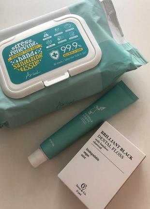Набор: зубная паста, нитка для зубов, салфетки санитайзер