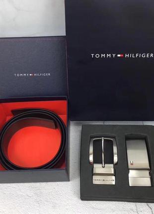 Tommy hilfiger мужской ремень на подарок двусторонний чёрный /...