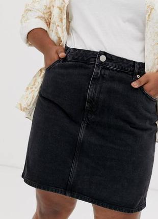 Графитовая джинсовая юбка большого размера asos