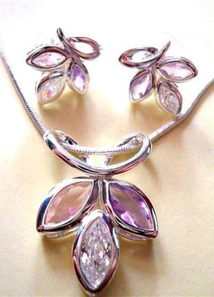 Серебряное ожерелье и серьги с кристаллами циркония набор