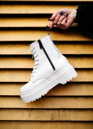 Dr. martens jadon white fur зимние женские ботинки с мехом бел...