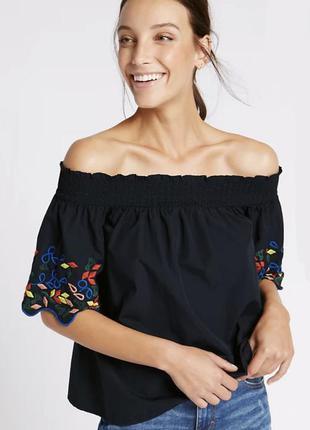Блузка с открытыми плечами с вышивкой,вышиванка этно бохо стил...