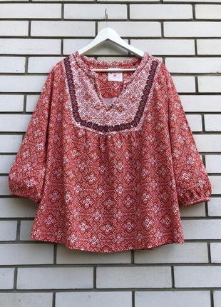 Блуза,рубаха вышиванка трикотаж этно,бохо стиль,вышивка,хлопок...