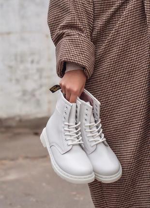 Dr. martens 1460 white fur женские зимние ботинки с мехом белы...