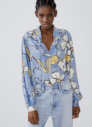 Цветочная объёмная рубашка вискоза zara