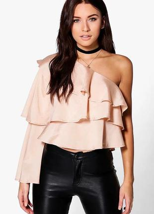 Блуза,топ ассиметричный,вечерняя,открытое плечо,воланы,рюши,бо...