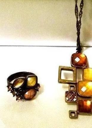 Набор в стиле хай-тек ожерелье серьги кольцо под античное золо...