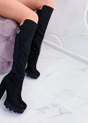 Замшевые сапоги на каблуке и платформе,демисезонные  замшевые ...