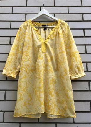 Яркая желтая блузка реглан,рубашка,туника,хлопок,h&m