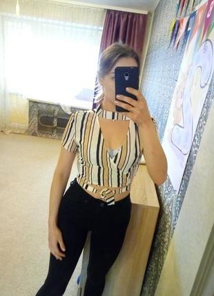 Кроп топ блуза блузка рубашка с чокером