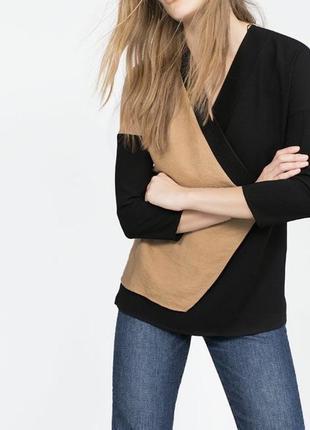 Комбинированная,асимметрия кофта,трикотаж блузка,джемпер,туник...