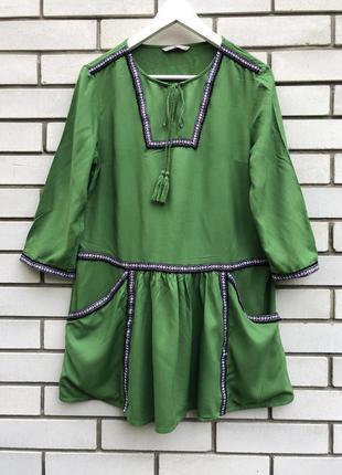 Штапельная блузка,туника,рубаха с вышивкой-тесьма,этно,бохо ст...