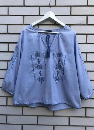 Блуза,рубаха с вышивкой,вышиванка, в этно,бохо стиле, хлопок 100%