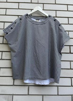 Комбинированная блузка топ футболка в клеточку реглан zara