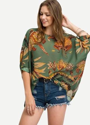 Шифоновая легкая,прозрачная блуза реглан,рубаха,большой размер...