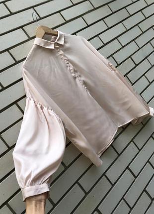 Атласная розовая рубашка с объёмными рукавами monki