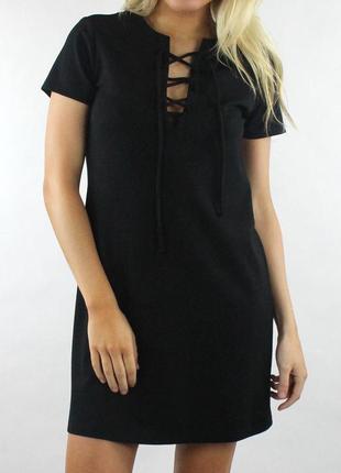 Платье  прямого кроя (shift ), длина мини, на шнуровке, с коро...