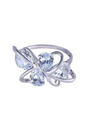 """Кольцо из серебра с покрытием из родия """"двойная полубабочка"""" с..."""