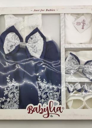 Платье с кружевом для крещения набор новорожденного подарок