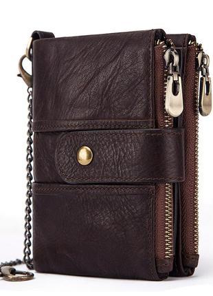 Кошелек кожаный мужской с цепочкой. портмоне бумажник из натур...