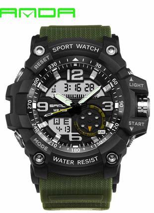 Наручные часы Sanda 759 Green-Black Оригинальные часы с годово...