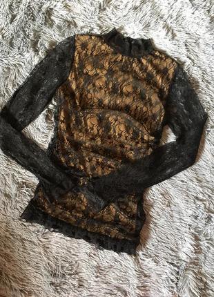 Гипюровый гольф кофта кружево блузка