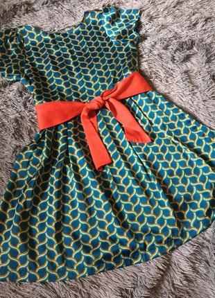 Летнее платье с поясом бантом коротким рукавом