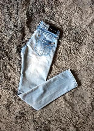 Джинсы голубые  скинни узенькие зауженные брюки
