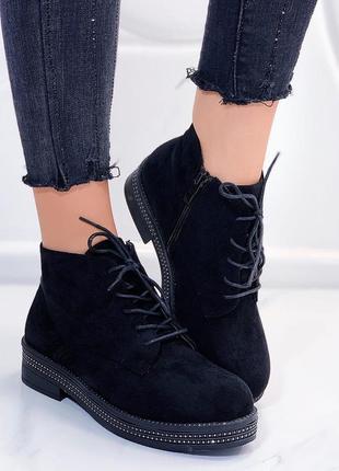 Замшевые ботинки на низком каблуке,демисезонные чёрные ботинки...