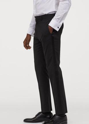 Шерстяные брюки под смокинг h&m premium quality , skinny fit !