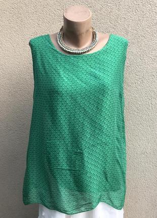 Зелёная,шелковая блуза,майка,италия,вискоза-шелк,