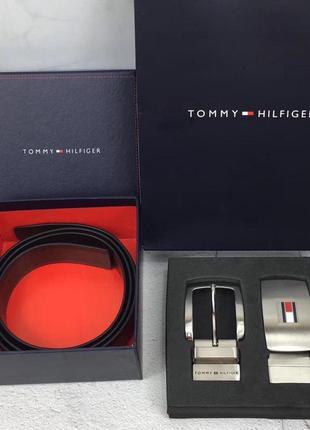 Мужской подарочный набор tommy hilfiger ремень + 2 пряжки кожа...
