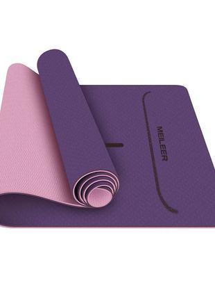 Коврик для фитнеса и йоги Meileer tpe-23 Purple + Pink 1830*61...