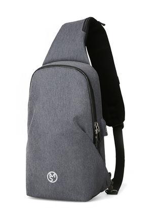 Мужской рюкзак на одно плечо Mazzy Star MS-P056 Light Gray пов...