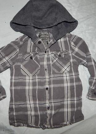 Рубашка в клетку модная с трикотажным капюшоном на мальчика 3 ...
