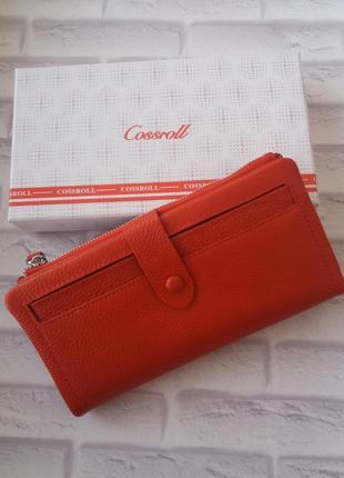 Кожаный женский красный кошелек из натуральной кожи шкіряний г...