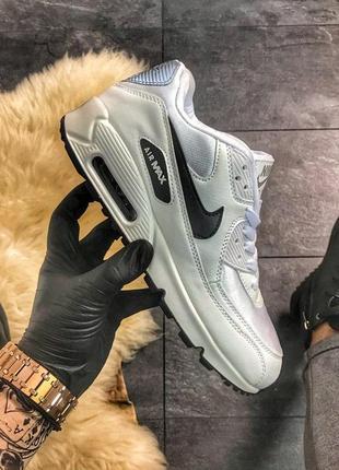 Nike air max 90 white lite silver, мужские демисезонные кроссо...