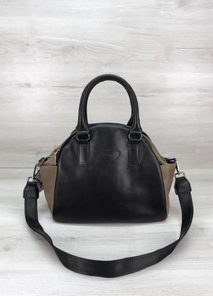 Женская кожаная черная кофейная сумка