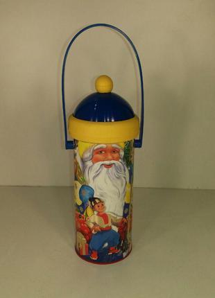 Упаковка для подарка новогодняя тубус малый, Дед Мороз и мальч...