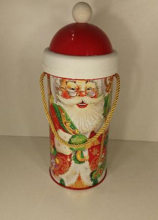 Новогодний тубус для конфет большой, Дед мороз (1 шт)